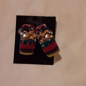 Multi colored earrings, red, green, yellow, blue,